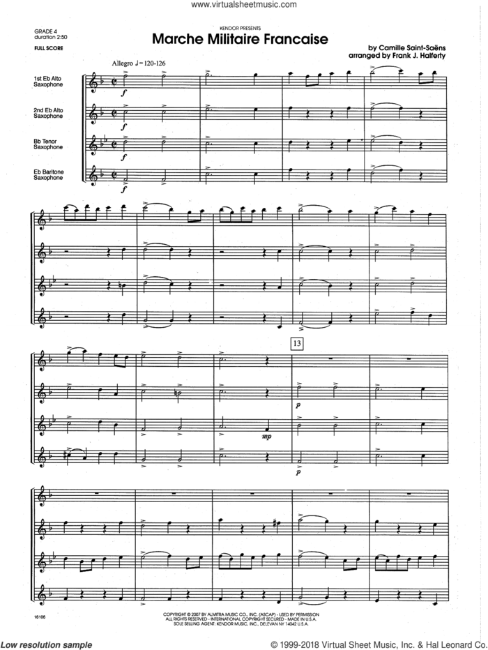Marche Militaire Francaise (COMPLETE) sheet music for saxophone quartet by Frank J. Halferty and Camille Saint-Saens, classical score, intermediate skill level