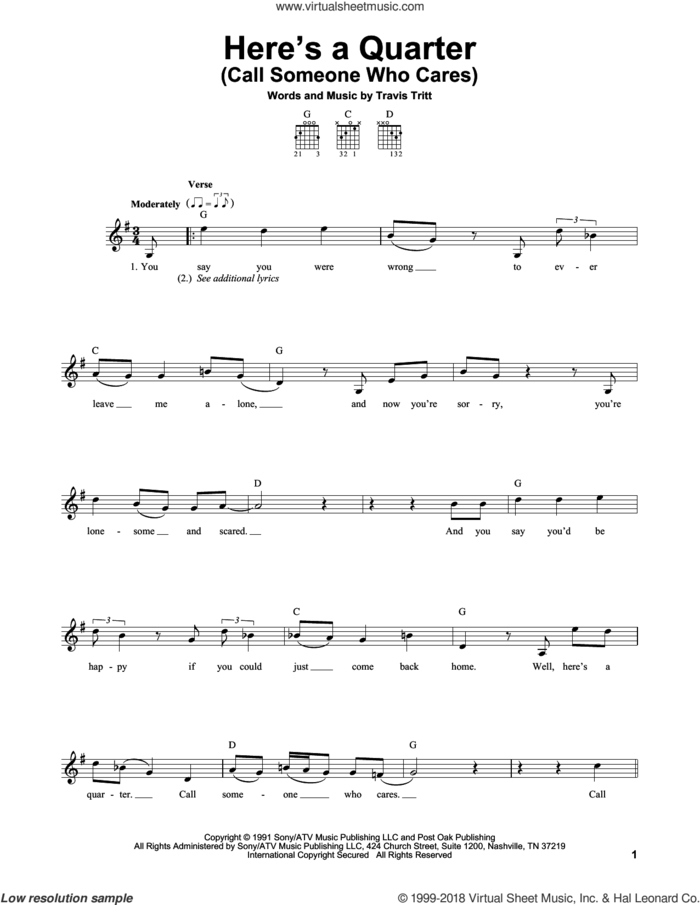 Here's A Quarter (Call Someone Who Cares) sheet music for guitar solo (chords) by Travis Tritt, easy guitar (chords)
