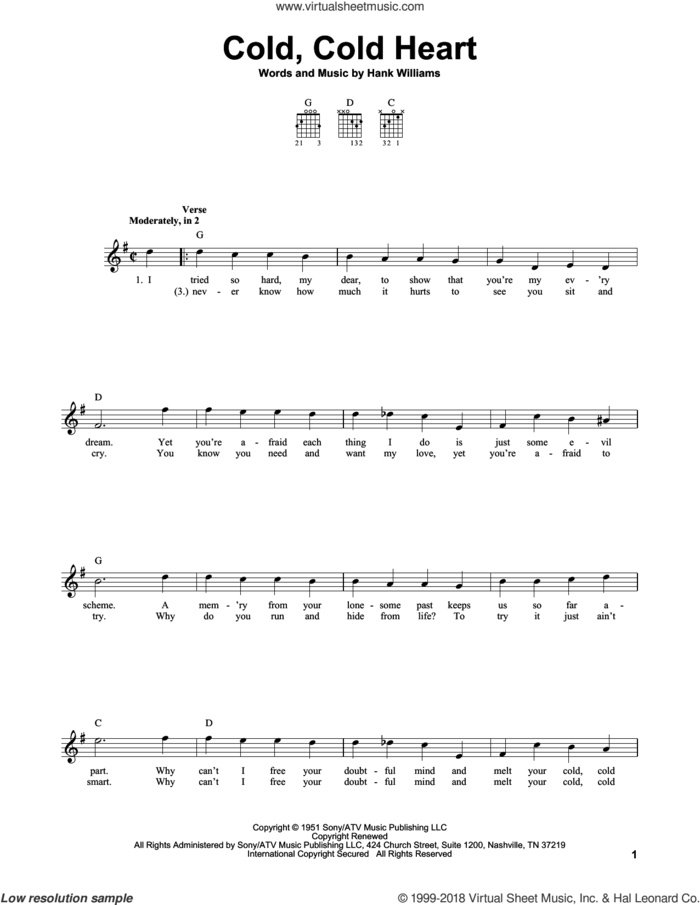 Cold, Cold Heart sheet music for guitar solo (chords) by Hank Williams and Tony Bennett, easy guitar (chords)