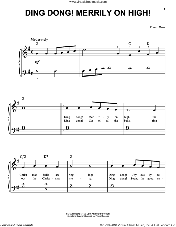 Ding Dong! Merrily On High! sheet music for piano solo, beginner skill level
