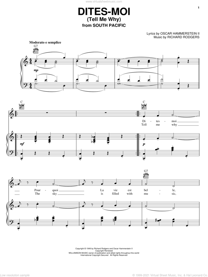 Dites-Moi (Tell Me Why) sheet music for voice, piano or guitar by Rodgers & Hammerstein, South Pacific (Musical), Oscar II Hammerstein and Richard Rodgers, intermediate skill level
