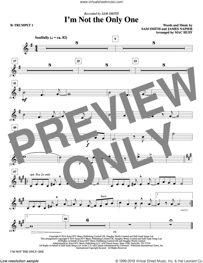 I'm Not the Only One (complete set of parts) sheet music for orchestra/band by Mac Huff, James Napier and Sam Smith, intermediate skill level