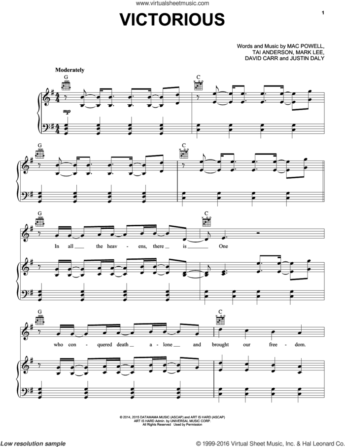Victorious sheet music for voice, piano or guitar by Third Day, David Carr, Justin Daly, Mac Powell, Mark Lee and Tai Anderson, intermediate skill level
