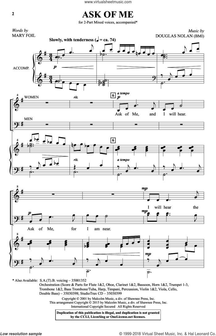 Ask Of Me sheet music for choir (2-Part) by Douglas Nolan and Mary Foil, intermediate duet