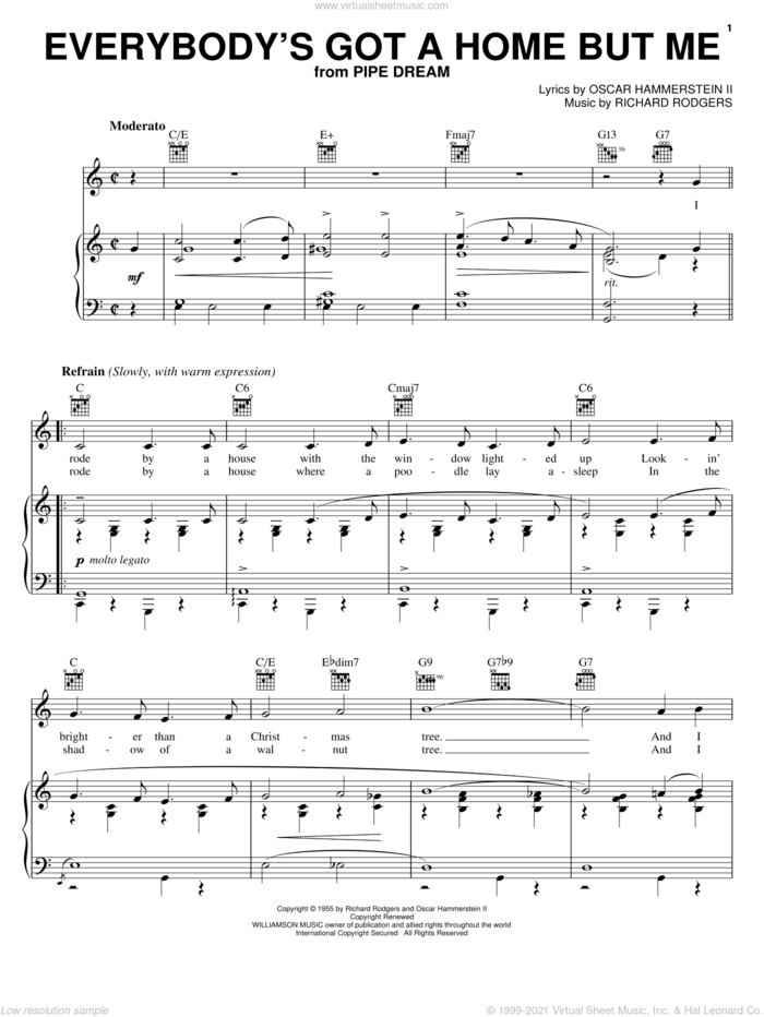 Everybody's Got A Home But Me sheet music for voice, piano or guitar by Rodgers & Hammerstein, Pipe Dream (Musical), Oscar II Hammerstein and Richard Rodgers, intermediate skill level