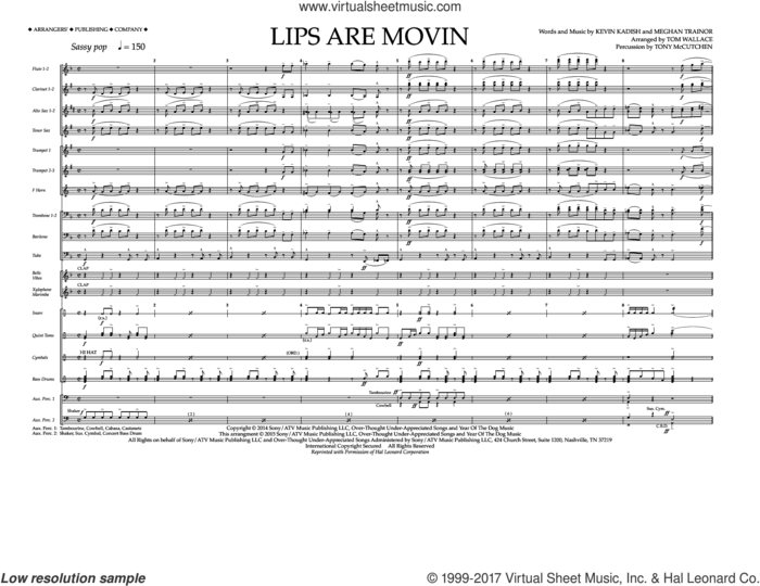 Lips Are Movin (COMPLETE) sheet music for marching band by Meghan Trainor, Kevin Kadish and Tom Wallace, intermediate skill level