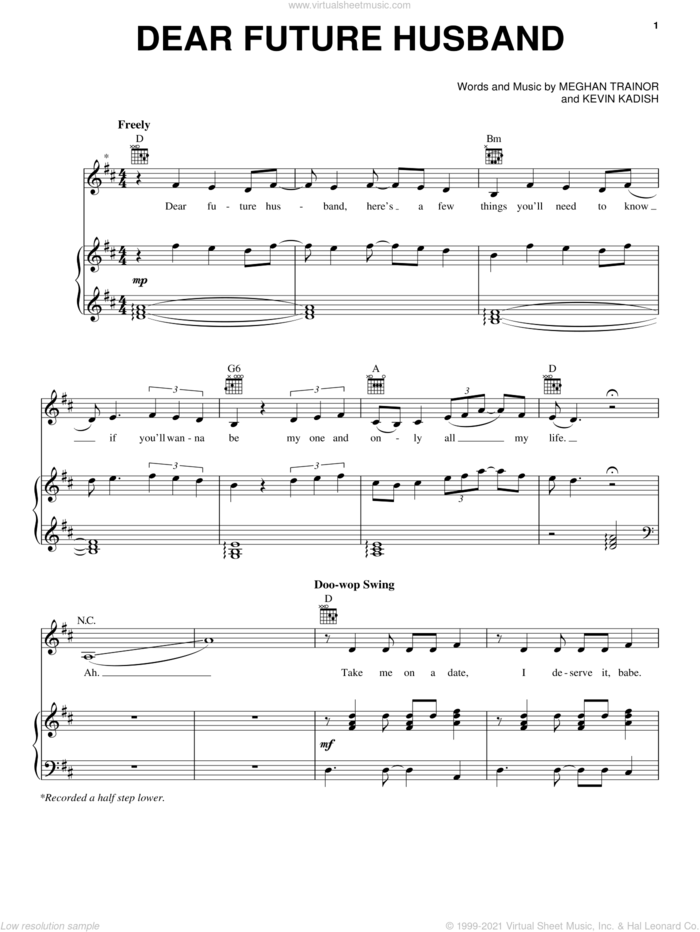 Dear Future Husband sheet music for voice, piano or guitar by Meghan Trainor and Kevin Kadish, intermediate skill level