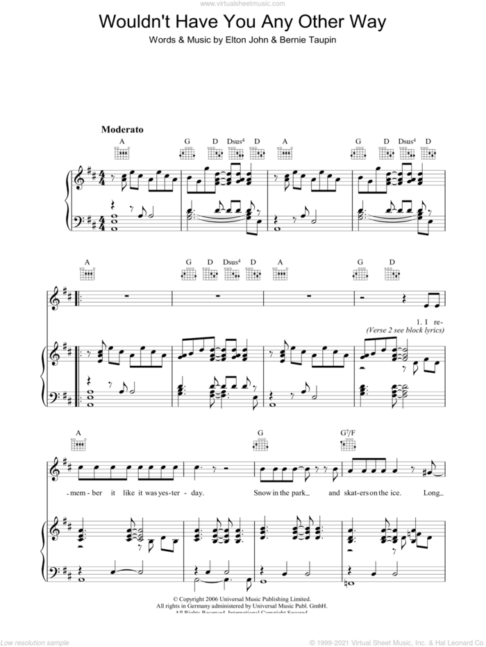 Wouldn't Have You Any Other Way (NYC) sheet music for voice, piano or guitar by Elton John and Bernie Taupin, intermediate skill level