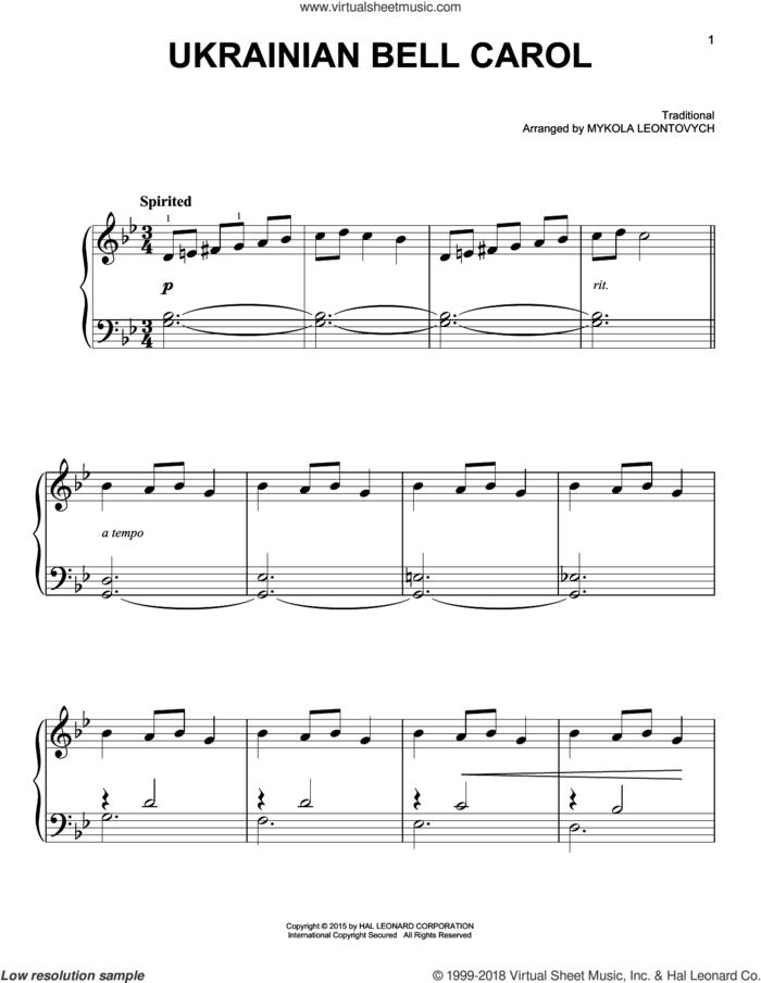 Ukrainian Bell Carol sheet music for piano solo by Mykola Leontovych, beginner skill level