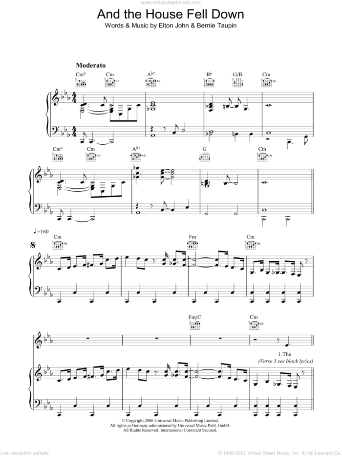 And The House Fell Down sheet music for voice, piano or guitar by Elton John, intermediate skill level