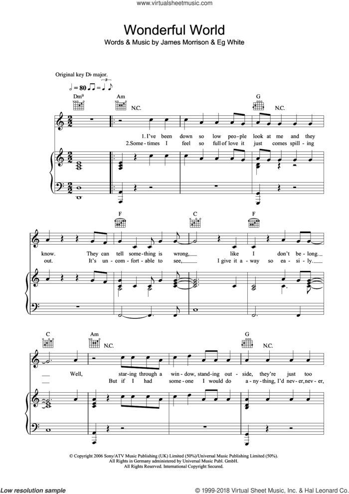 Wonderful World sheet music for voice, piano or guitar by James Morrison and Eg White, intermediate skill level