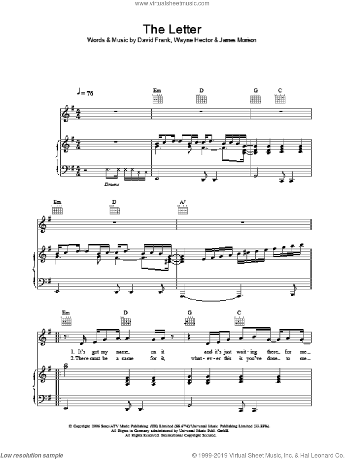 The Letter sheet music for voice, piano or guitar by James Morrison, David Frank and Wayne Hector, intermediate skill level