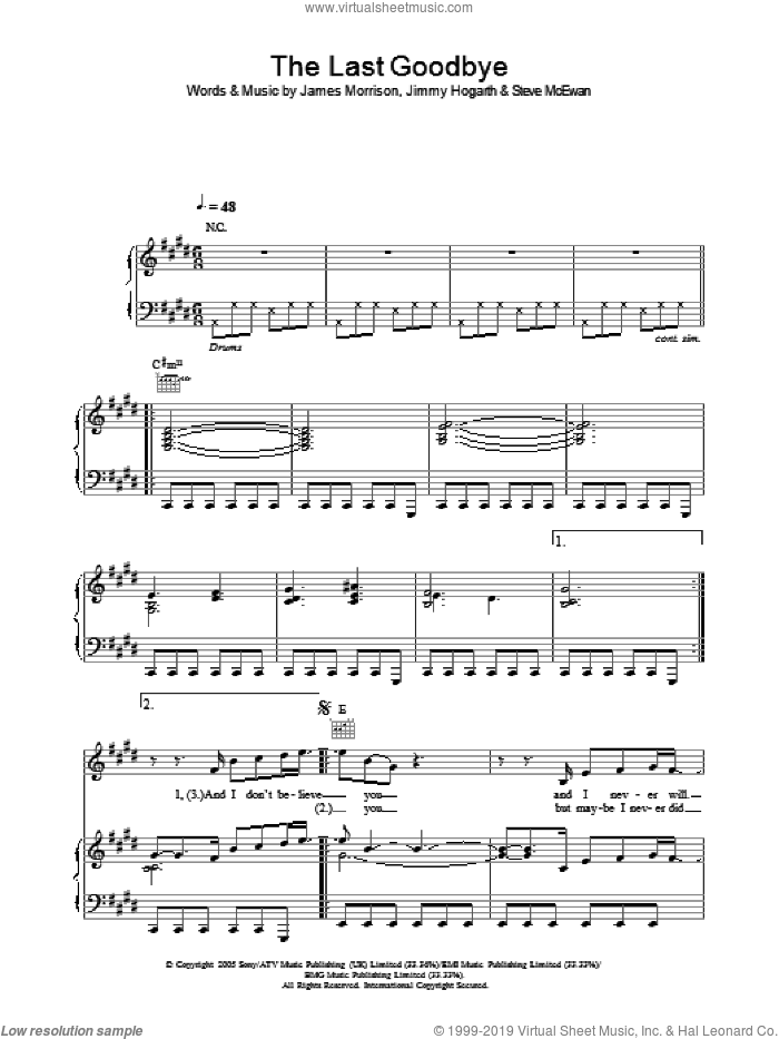 The Last Goodbye sheet music for voice, piano or guitar by James Morrison, James Hogarth and Steve McEwan, intermediate skill level