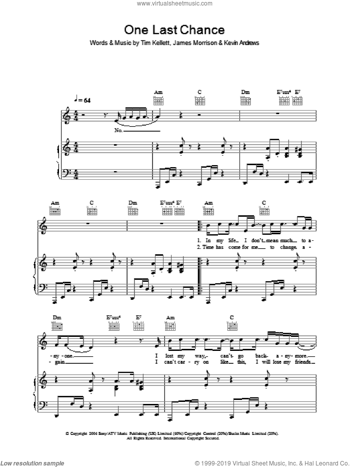 One Last Chance sheet music for voice, piano or guitar by James Morrison, Kevin Andrews and Tim Kellett, intermediate skill level