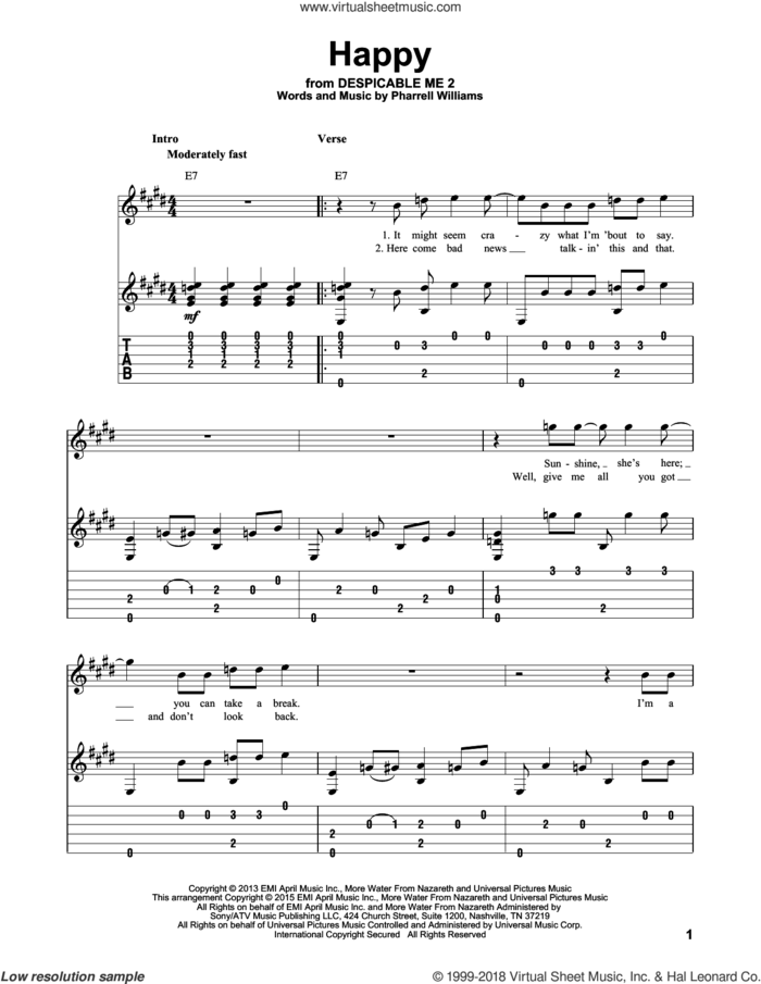 Happy sheet music for guitar solo by Pharrell and Pharrell Williams, intermediate skill level