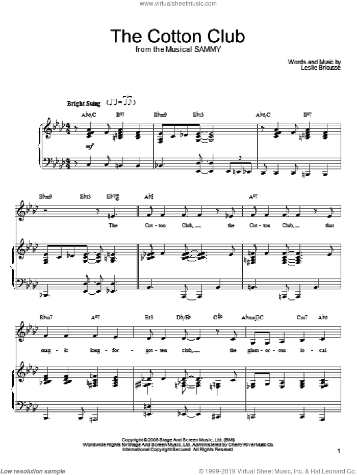 The Cotton Club sheet music for voice, piano or guitar by Leslie Bricusse, intermediate skill level