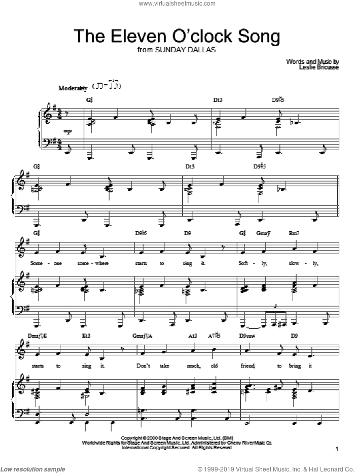 The Eleven O'Clock Song sheet music for voice, piano or guitar by Leslie Bricusse, intermediate skill level