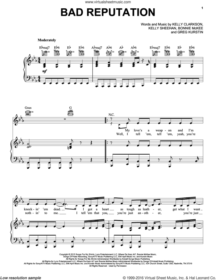Bad Reputation sheet music for voice, piano or guitar by Kelly Clarkson, Bonnie McKee, Greg Kurstin and Kelly Sheehan, intermediate skill level