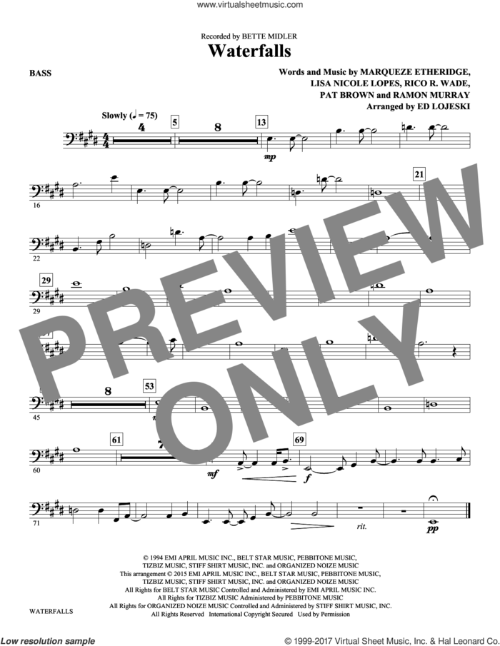 Waterfalls (complete set of parts) sheet music for orchestra/band by Ed Lojeski, Lisa Nicole Lopes, Marqueze Etheridge, Pat Brown, Ramon Murray and Rico Wade, intermediate skill level