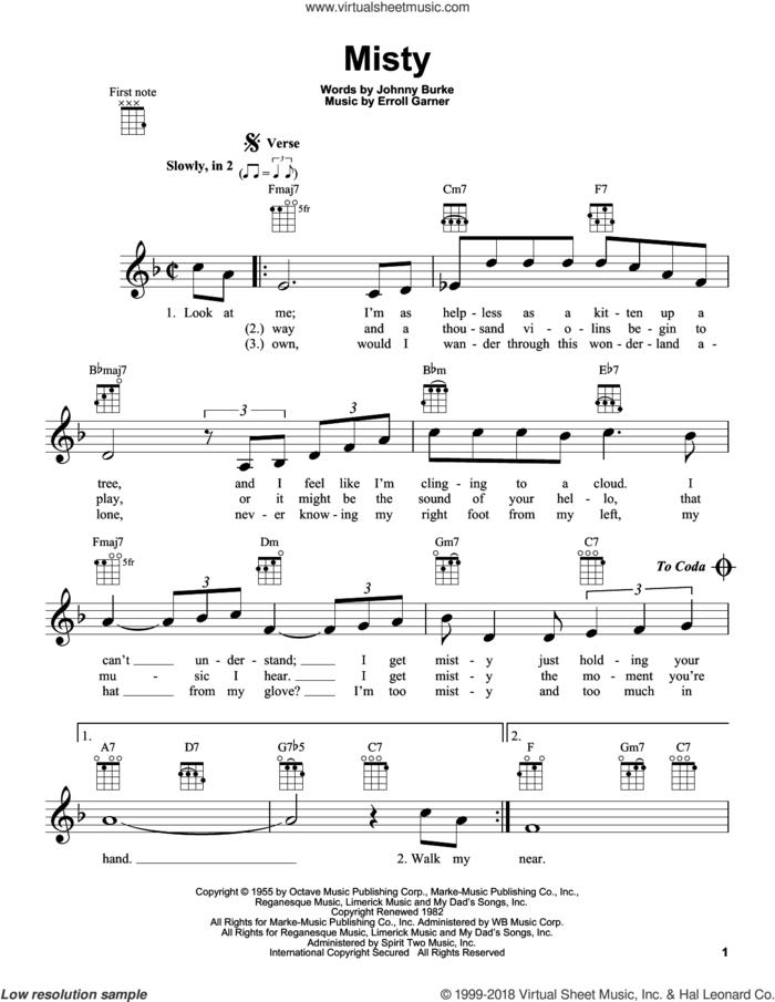 Misty sheet music for ukulele by Johnny Mathis, Erroll Garner and John Burke, intermediate skill level