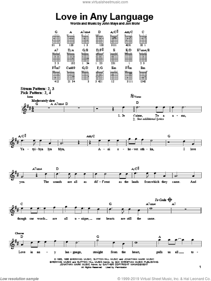 Love In Any Language sheet music for guitar solo (chords) by Sandi Patty, John Mays and Jon Mohr, easy guitar (chords)