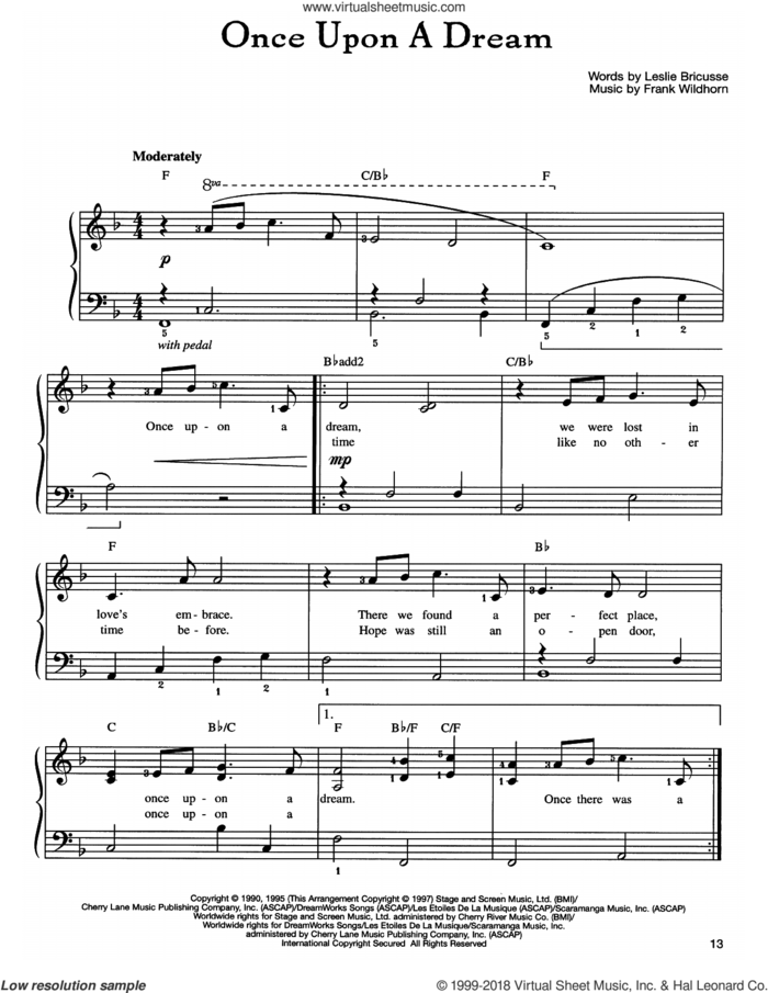 Once Upon A Dream sheet music for piano solo by Frank Wildhorn and Leslie Bricusse, easy skill level