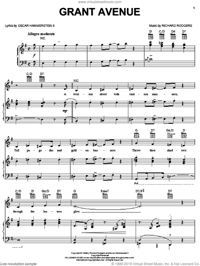 Grant Avenue sheet music for voice, piano or guitar by Rodgers & Hammerstein, Flower Drum Song (Musical), Oscar II Hammerstein and Richard Rodgers, intermediate skill level