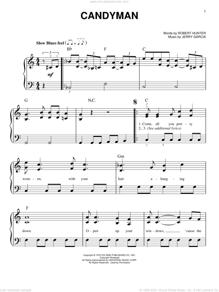 Candyman sheet music for piano solo by Grateful Dead, Jerry Garcia and Robert Hunter, easy skill level