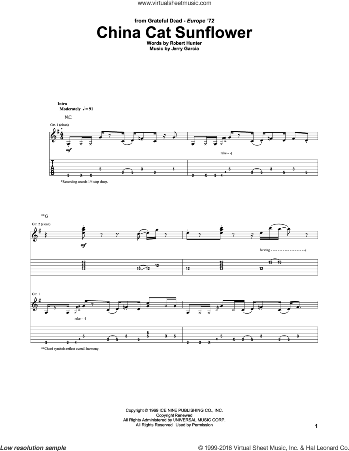 China Cat Sunflower sheet music for guitar (tablature) by Grateful Dead, Jerry Garcia and Robert Hunter, intermediate skill level