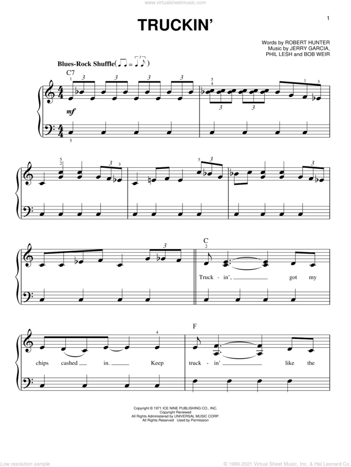 Truckin' sheet music for piano solo by Grateful Dead, Bob Weir, Jerry Garcia, Phil Lesh and Robert Hunter, easy skill level