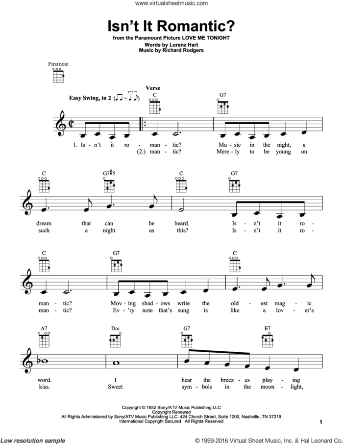 Isn't It Romantic? sheet music for ukulele by Rodgers & Hart, Shirley Horn, Lorenz Hart and Richard Rodgers, intermediate skill level