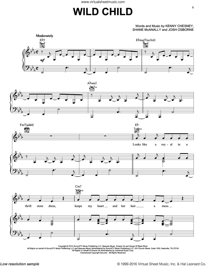 Wild Child sheet music for voice, piano or guitar by Kenny Chesney with Grace Potter, Josh Osborne, Kenny Chesney and Shane McAnally, intermediate skill level