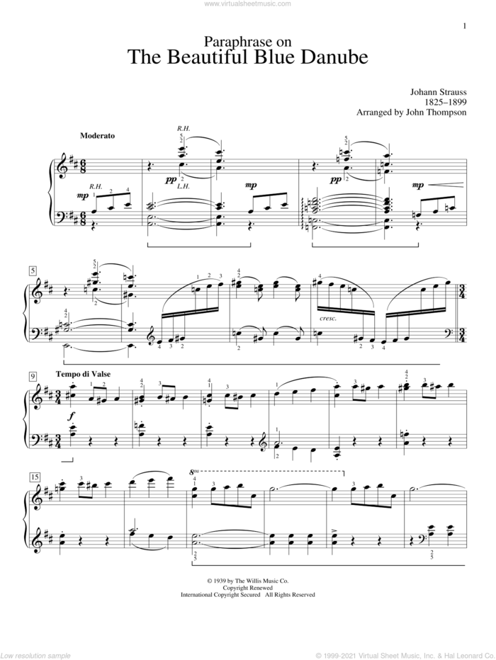 Paraphrase On The Beautiful Blue Danube Waltzes sheet music for piano solo (elementary) by Johann Strauss and John Thompson, classical score, beginner piano (elementary)