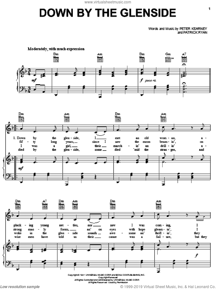 Down By The Glenside sheet music for voice, piano or guitar by Peter Kearney and Patrick Ryan, intermediate skill level