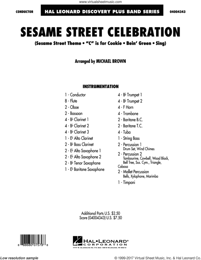 Sesame Street Celebration (COMPLETE) sheet music for concert band by Michael Brown, intermediate skill level