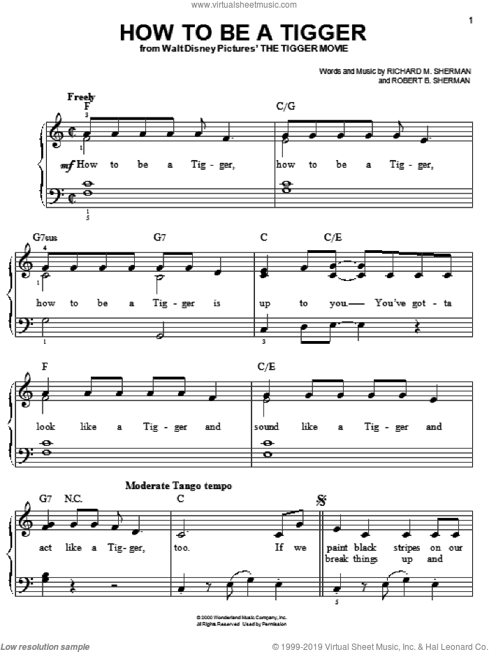 How To Be A Tigger sheet music for piano solo by Sherman Brothers, Richard M. Sherman and Robert B. Sherman, easy skill level