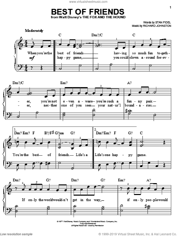 Best Of Friends sheet music for piano solo by Pearl Bailey, Richard Johnston and Stan Fidel, easy skill level