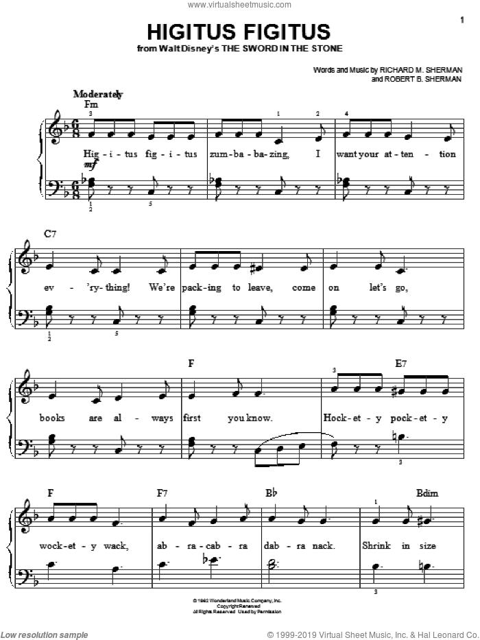 Higitus Figitus sheet music for piano solo by Sherman Brothers, Richard M. Sherman and Robert B. Sherman, easy skill level