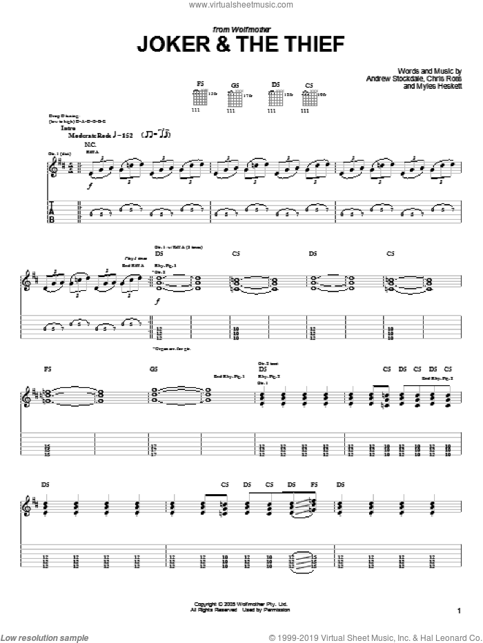 Joker and The Thief sheet music for guitar (tablature) by Wolfmother, Andrew Stockdale, Chris Ross and Myles Heskett, intermediate skill level