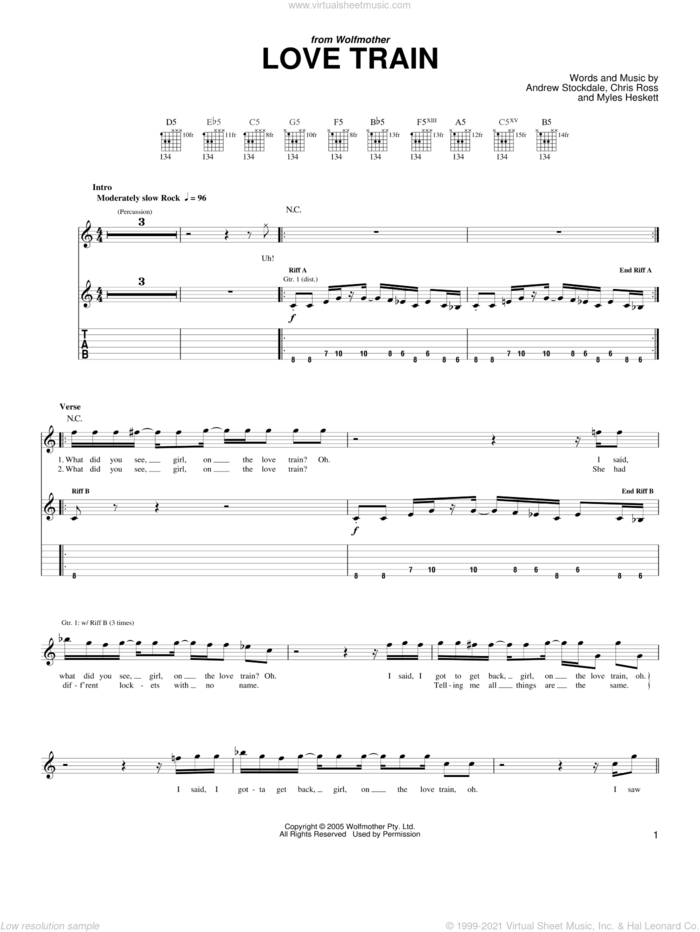 Love Train sheet music for guitar (tablature) by Wolfmother, Andrew Stockdale, Chris Ross and Myles Heskett, intermediate skill level