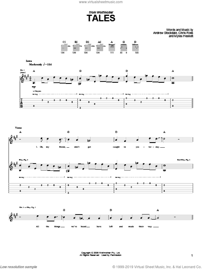 Tales sheet music for guitar (tablature) by Wolfmother, Andrew Stockdale, Chris Ross and Myles Heskett, intermediate skill level