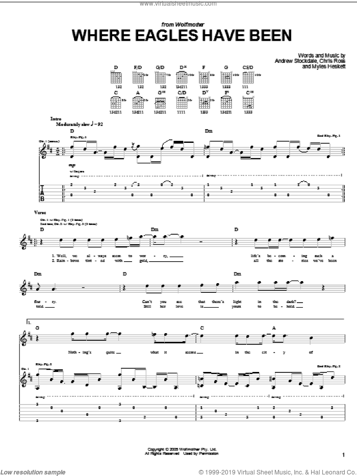 Where Eagles Have Been sheet music for guitar (tablature) by Wolfmother, Andrew Stockdale, Chris Ross and Myles Heskett, intermediate skill level
