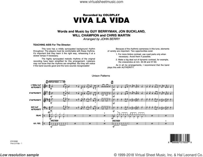 Viva La Vida (COMPLETE) sheet music for jazz band by Coldplay, Chris Martin, Guy Berryman, John Berry, Jon Buckland and Will Champion, intermediate skill level