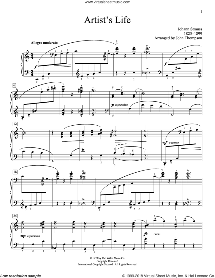 Artist's Life sheet music for piano solo (elementary) by Johann Strauss and John Thompson, classical score, beginner piano (elementary)