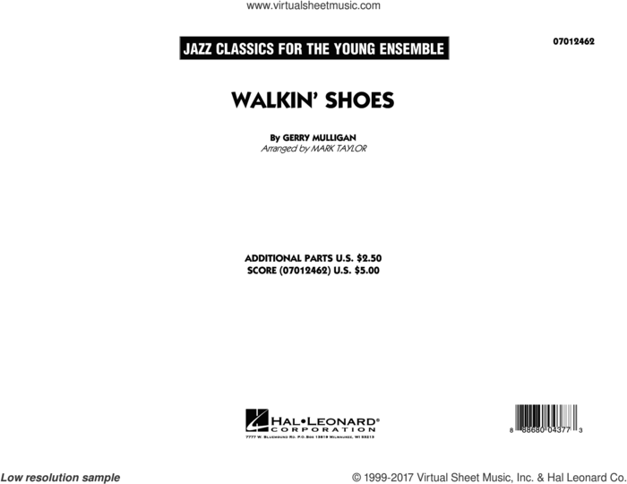 Walkin' Shoes (COMPLETE) sheet music for jazz band by Mark Taylor and Gerry Mulligan, intermediate skill level