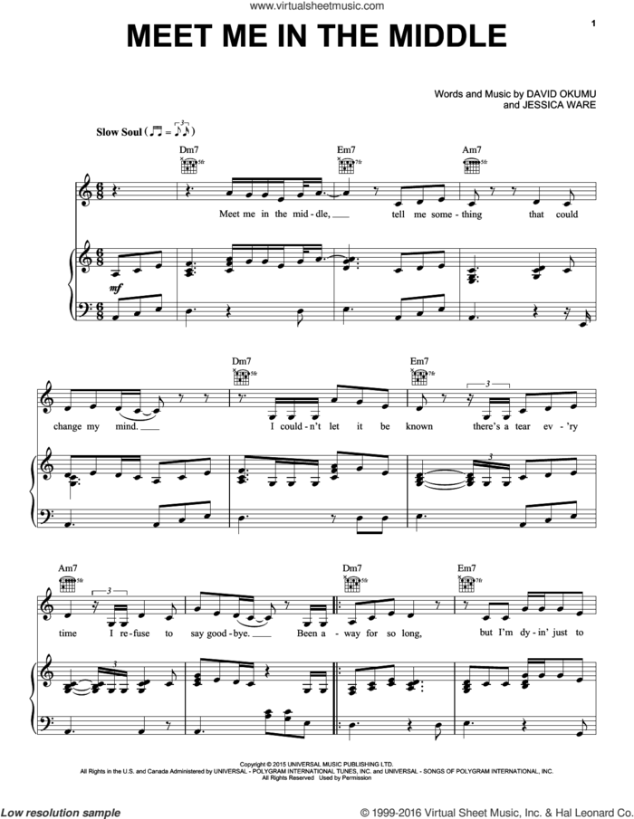 Meet Me In The Middle sheet music for voice, piano or guitar by Jessie Ware, David Okumu and Jessica Ware, intermediate skill level
