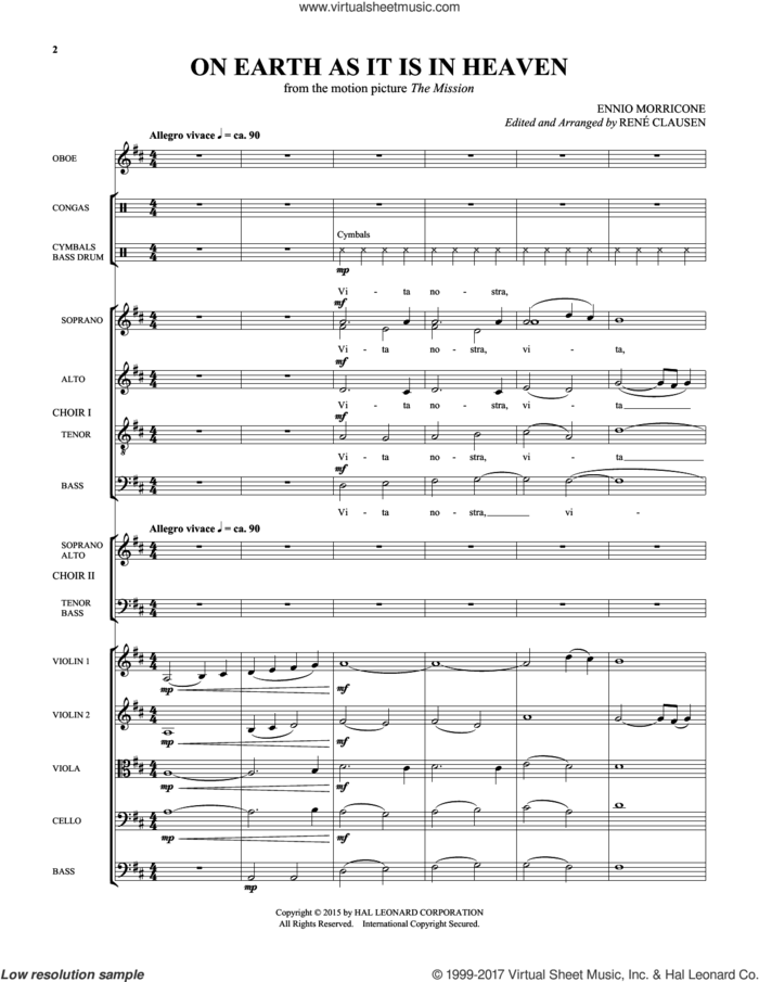 On Earth As It Is In Heaven (COMPLETE) sheet music for orchestra/band by Ennio Morricone, RenA�A� Clausen and Rene Clausen, classical score, intermediate skill level