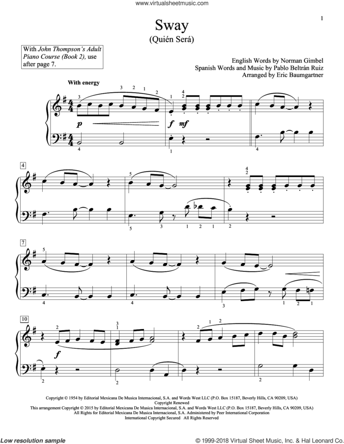 Sway (Quien Sera) sheet music for piano solo (elementary) by Norman Gimbel, Dean Martin, Eric Baumgartner, Glenda Austin, John Thompson and Pablo Beltran Ruiz, beginner piano (elementary)
