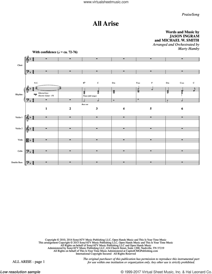 All Arise (COMPLETE) sheet music for orchestra/band by Michael W. Smith, Jason Ingram and Marty Hamby, intermediate skill level