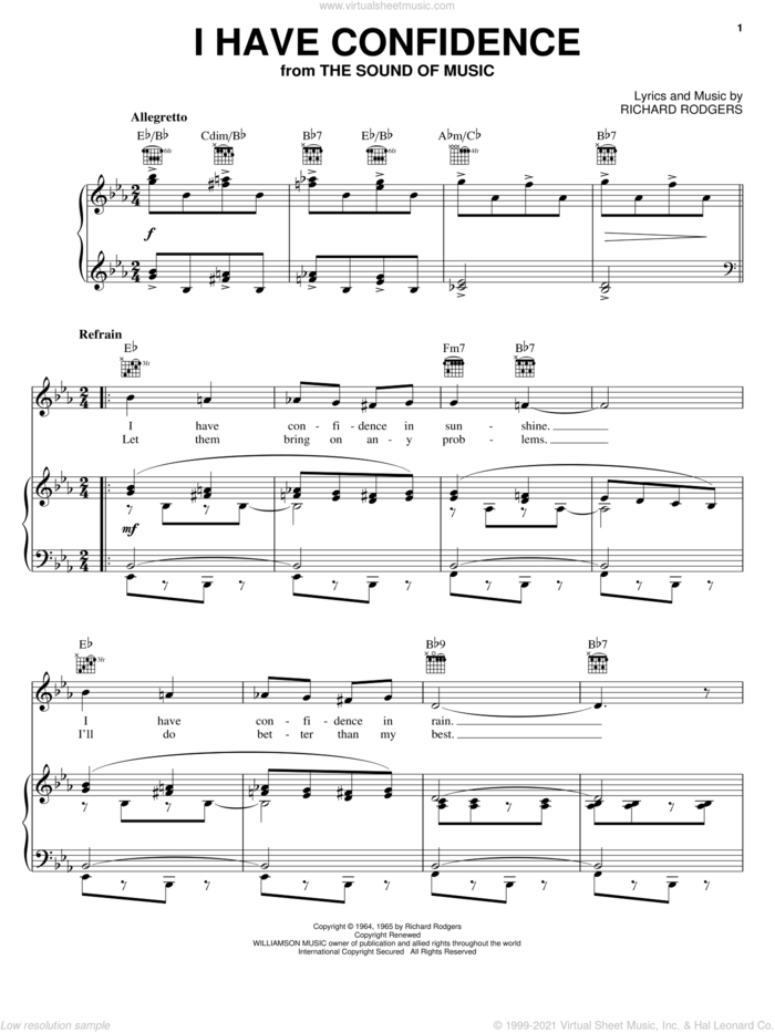 I Have Confidence (from The Sound of Music) sheet music for voice, piano or guitar by Rodgers & Hammerstein, Hammerstein, Rodgers & and Richard Rodgers, intermediate skill level